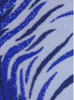 Dalgalı ve Karışık Desenli Payetli Sax Lacivert Kupon Elbise - A2245