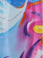 Rengarenk Çiçek Desenli İpek Emprime Turkuaz Saten Kumaş - K271