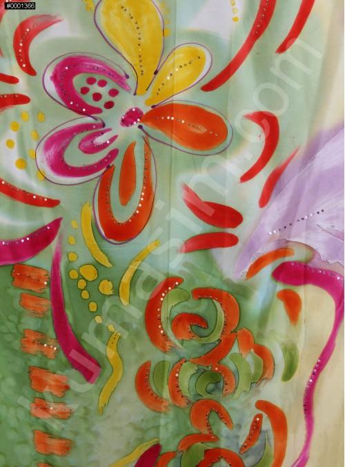 Rengarenk Çiçek Desenli İpek Emprime Yeşil Saten Kumaş - K271