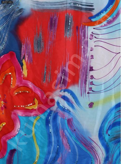 Kırmızı ve Mavi Karışık Desenli İpek Emprime Saten Kumaş - K272