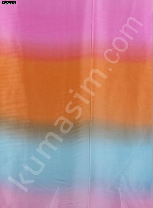 Mavi - Pembe - Turuncu Renkli Emprime Saten Kumaş - K274