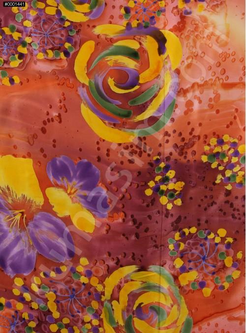 Islanmış Çiçek Desenli Turuncu İpek Empirme Saten Kumaş - K275