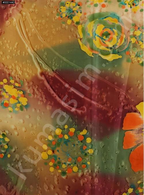 Islanmış Çiçek Desenli Yeşil İpek Empirme Saten Kumaş - K275