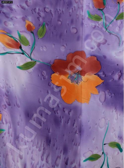 Büyük Çiçek Desenli %100 Gerçek İpek Saten Kumaş - K276