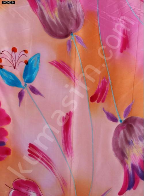 Çiçek Gül Desenli Rengarenk Emprime Saten Kumaş - K277