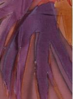 Çiçek Desenli Rengarenk Fuşya Yakma Şifon Kumaş - K283