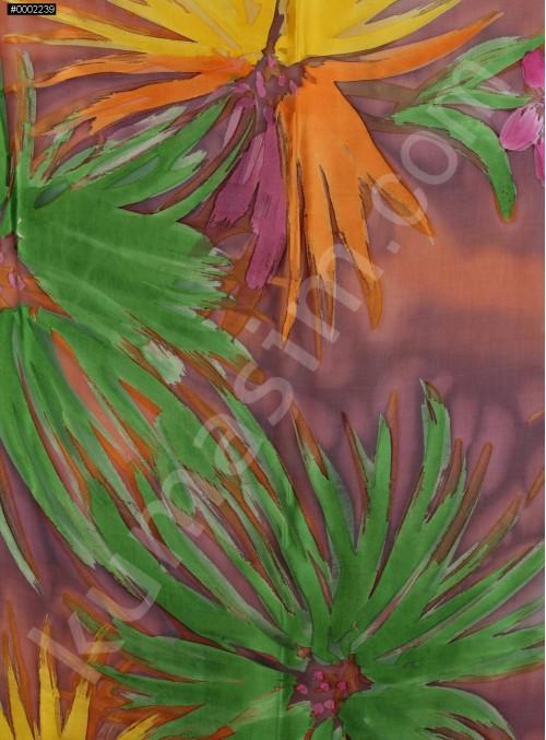 Çiçek Desenli Rengarenk Yeşil Yakma Şifon Kumaş - K283