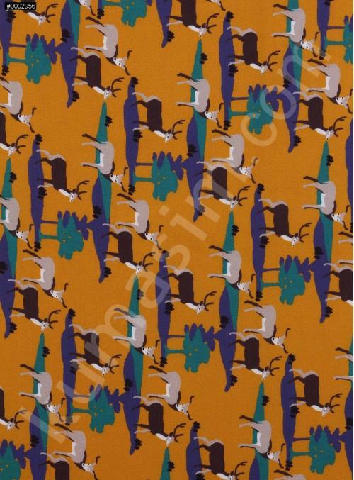 Geyik Desenli Sarı Empirme İpek Şifon Kumaş - K286