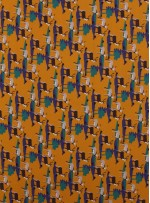 Geyik Desenli Sarı Emprime İpek Şifon Kumaş - K286