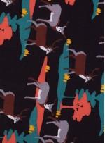 Geyik Desenli Siyah Emprime İpek Şifon Kumaş - K286