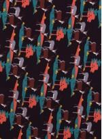 Geyik Desenli Siyah Empirme İpek Şifon Kumaş - K286