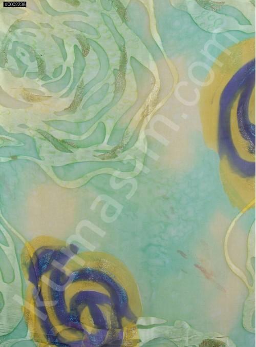 Çiçek Desenli Rengarenk Simli Yakma Şifon Kumaş - K287