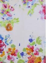 Rengarenk Çiçek Desenli Emprime Likra Şifon Kumaş - K291