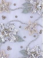 Çiçek Desenli Payetli - Boncuklu - Taşlı Nişanlık ve Gelinlik Beyaz Kumaş - K29257