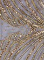 Çiçek Desenli Payetli - Boncuklu Nişanlık ve Gelinlik Beyaz Kumaş - K29349