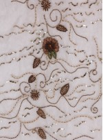 Nişanlık Çiçek Desenli Payetli - Boncuklu - Taşlı Gold Kumaş - K29372