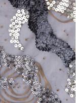 Karışık Desenli Gold ve Siyah Payetli - Taşlı Kumaş - A29397
