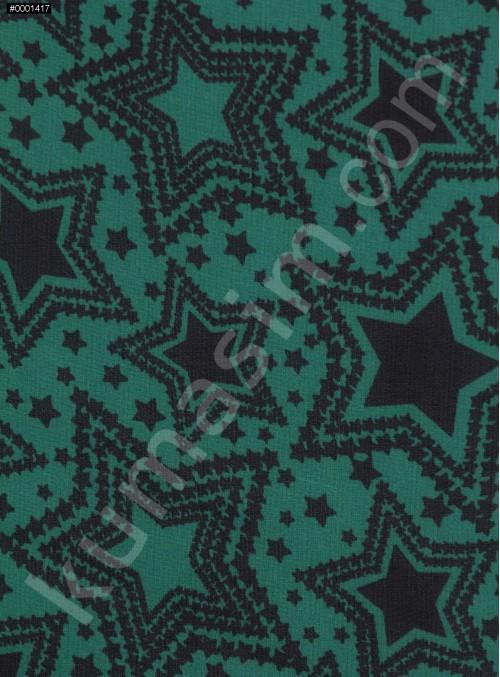 Yıldız Desenli Emprime Yeşil Şifon Kumaş - K297