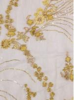 Seyrek Çiçek Desenli Payetli - Boncuklu - Taşlı Gold Kumaş - K29813