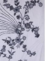 Seyrek Çiçek Desenli Payetli - Boncuklu - Taşlı Gri Kumaş - K29813
