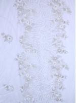 Gelinlik ve Nişanlık Çiçek Desenli Payetli - Boncuklu - Taşlı Beyaz Kumaş - K29832