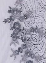 Gelinlik ve Nişanlık Çiçek Desenli Payetli - Boncuklu - Taşlı Gri Kumaş - K29832