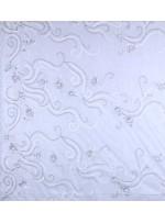 Çiçek Desenli Payetli - Boncuklu - Taşlı Nişanlık ve Gelinlik Beyaz Kumaş - K29903