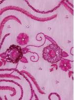 Çiçek Desenli Payetli - Boncuklu - Taşlı Nişanlık ve Gelinlik Pembe Kumaş - K29903