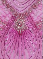 Desenli Swarovski Taşlı - Payetli ve Boncuklu Fuşya Kupon Elbise - A29946