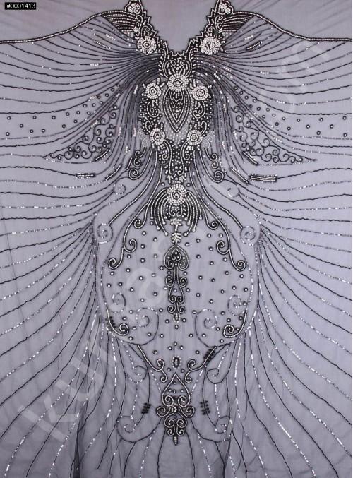 Etnik Desenli Swarovski Taşlı - Boncuklu - Payetli Siyah Kupon Elbise - A29954