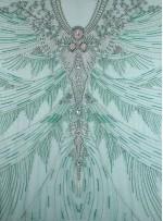 Etnik Desenli Swarovski Taşlı - Payetli ve Boncuklu Yeşil Kupon Elbise - A29957