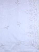 Bordürlü Çiçek Desenli Payetli - Boncuklu - Taşlı Beyaz Kumaş - K29974