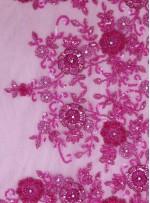 Çiçek Desenli Payetli Boncuklu Taşlı Nişanlık ve Gelinlik Pembe Kumaş - K29974