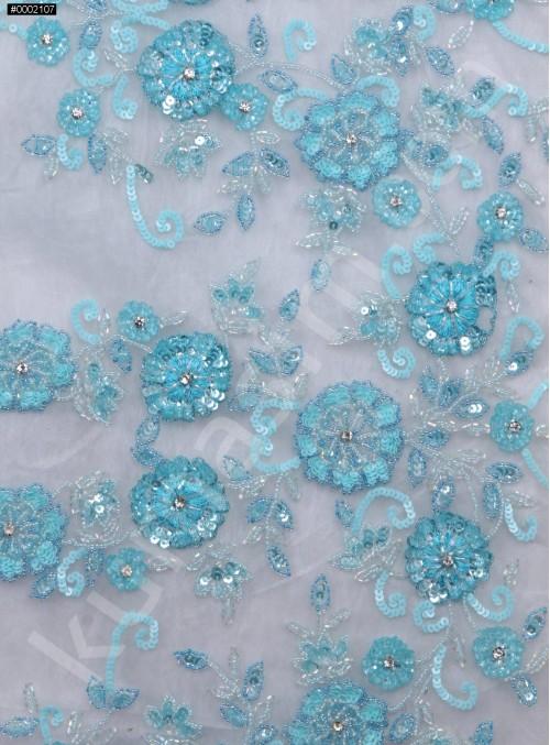 Çiçek Desenli Payetli Boncuklu Taşlı Nişanlık ve Gelinlik Turkuaz Kumaş - K29974
