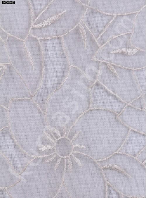 Çiçek Desenli Kemik Organze Kumaş - K3010