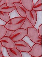 Çiçek Desenli Kırmızı Organze Kumaş - K3010