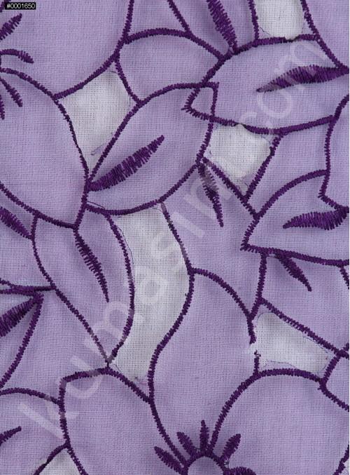 Çiçek Desenli Mor Organze Kumaş - K3010