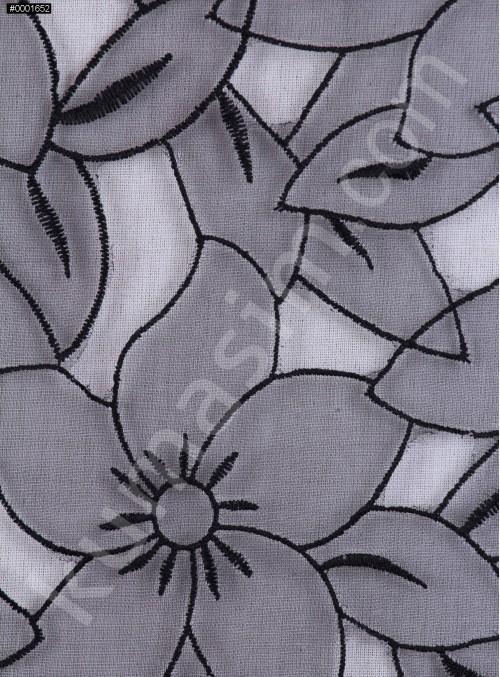 Çiçek Desenli Siyah Organze Kumaş - K3010
