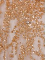 Yoğun Swarovski Taşlı - Payetli ve Boncuklu Gold Kupon Elbise - A30122