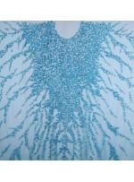 Yoğun Swarovski Taşlı - Payetli ve Boncuklu Turkuaz Kupon Elbise - A30122