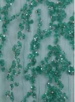 Yoğun Swarovski Taşlı - Payetli ve Boncuklu Yeşil Kupon Elbise - A30122