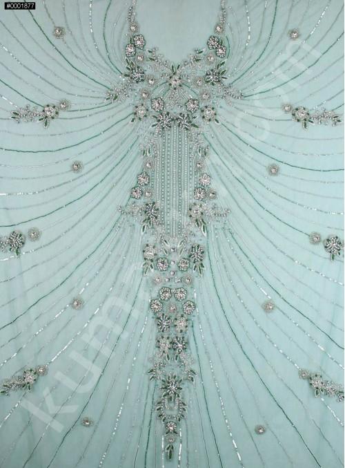 Elbise Desenli Yoğun Swarovski Taşlı - Payetli ve Boncuklu Yeşil Kupon Elbise - A30227