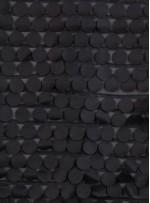 Daire Desenli Lazer Kesim Siyah Deri Kumaş - K3025