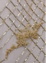 Osmanlı Desenli Taşlı - Payetli - Boncuklu Açık Gold Kupon Elbise - A30403