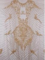 Osmanlı Desenli Taşlı - Payetli - Boncuklu Gold Kupon Elbise - A30403