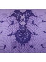 Osmanlı Desenli Taşlı - Payetli - Boncuklu Mor Kupon Elbise - A30403