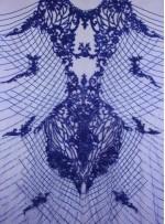 Osmanlı Desenli Taşlı - Payetli - Boncuklu Parlement Mavisi Kupon Elbise - A30403