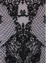 Osmanlı Desenli Taşlı - Payetli - Boncuklu Siyah Kupon Elbise - A30403