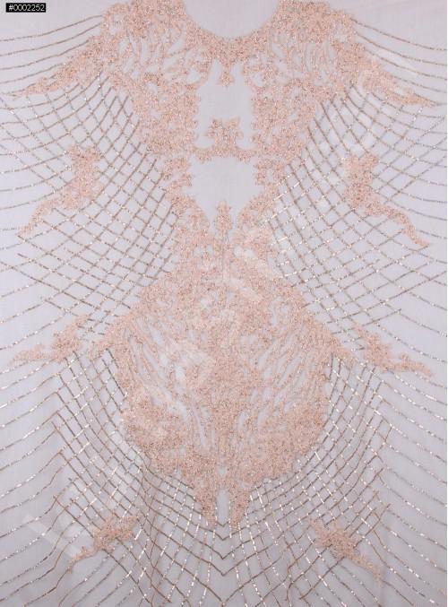 Osmanlı Desenli Taşlı - Payetli - Boncuklu Somon Kupon Elbise - A30403