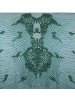 Osmanlı Desenli Taşlı - Payetli - Boncuklu Yeşil Kupon Elbise - A30403